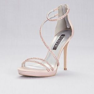 Strappy Crystal-Trimmed Stiletto Heels with Zipper